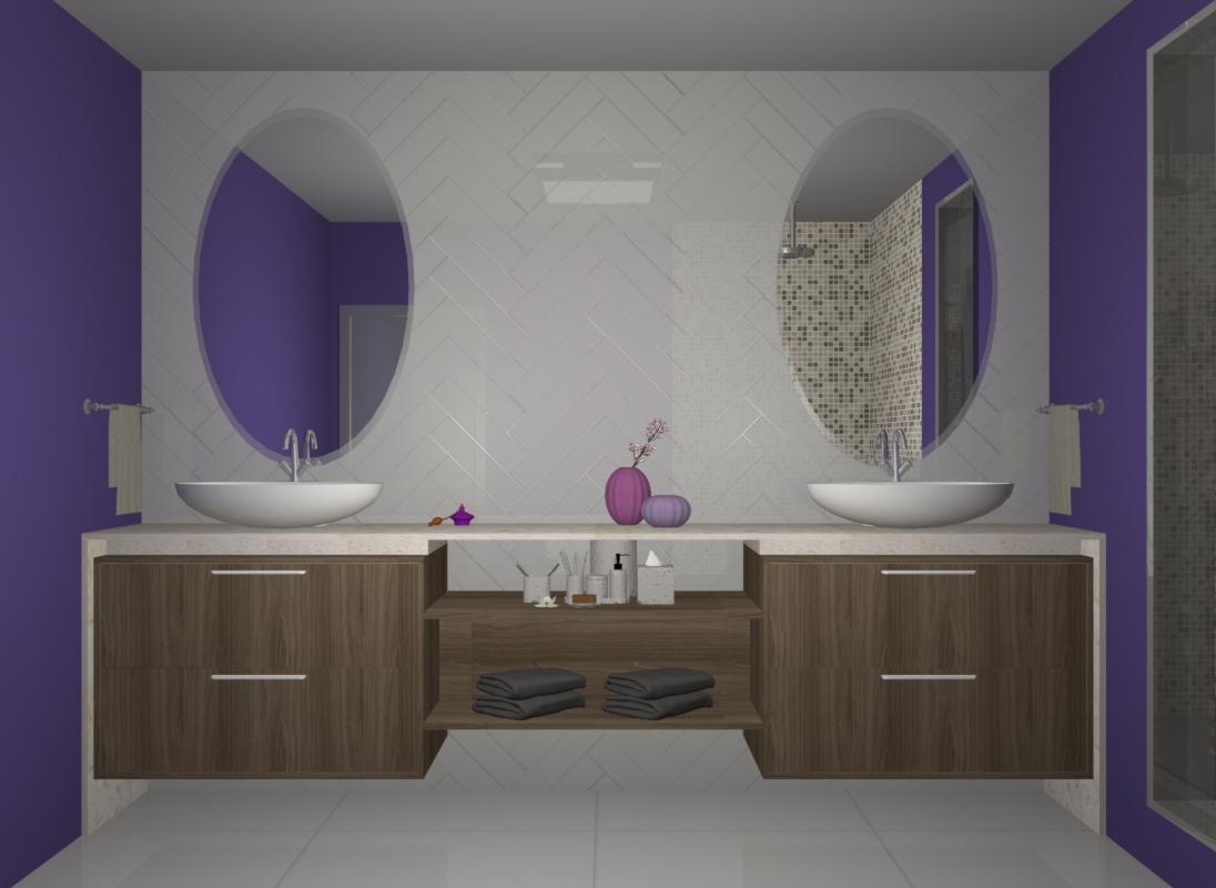 banheiro com ultra violet cor do ano pantone