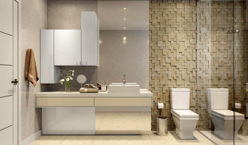 banheiro clássico - em tons neutros