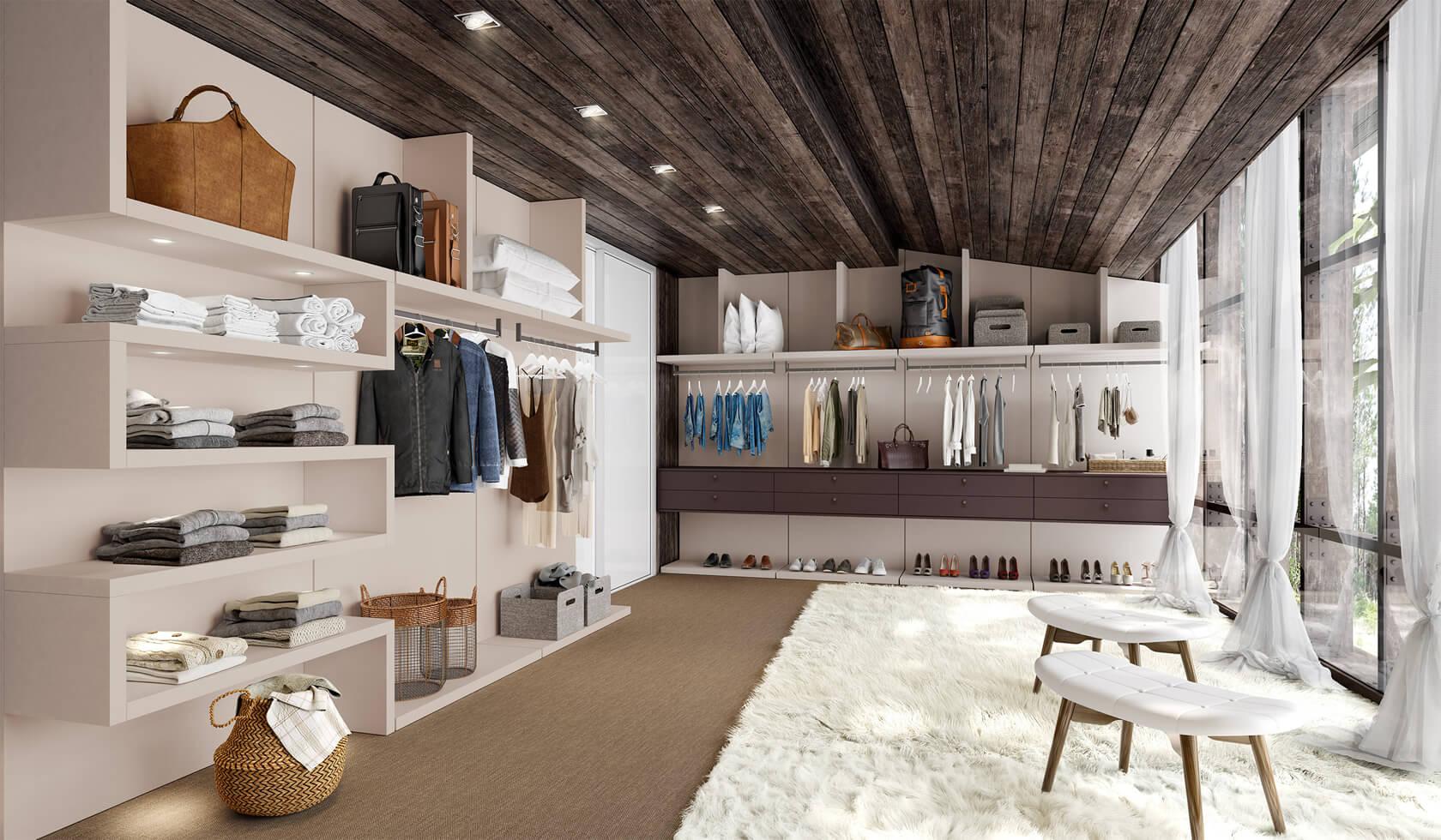 walk in closet - conceito de closet aberto personalizado