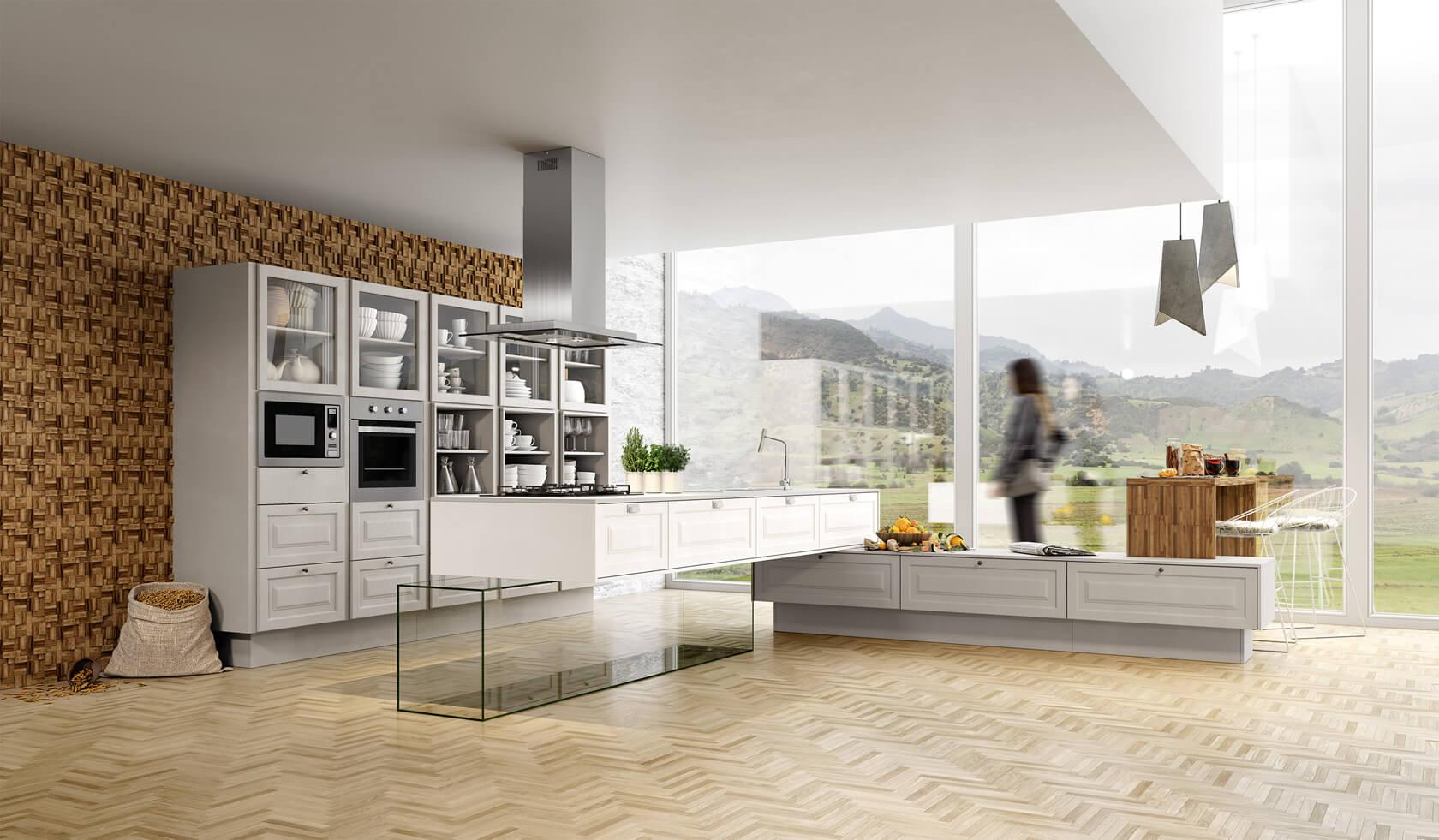 cozinha provençal branco e madeira de luxo com ilha