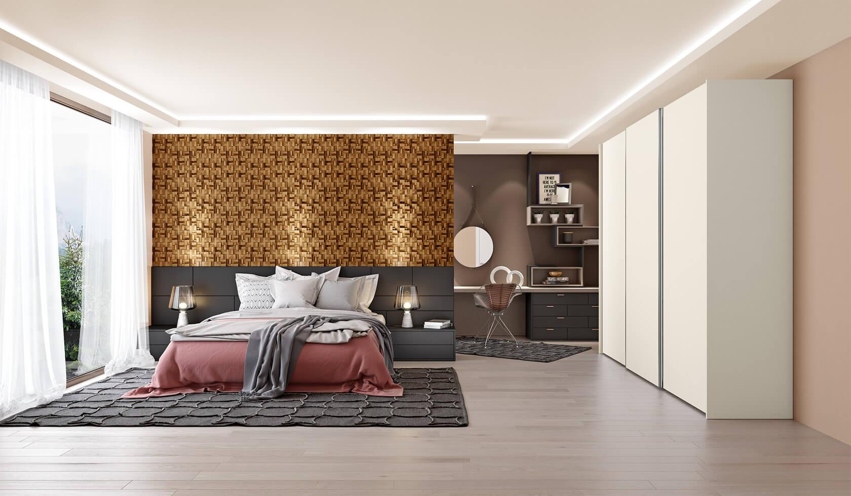 quarto casal com cabeceira imponente de painel de madeira