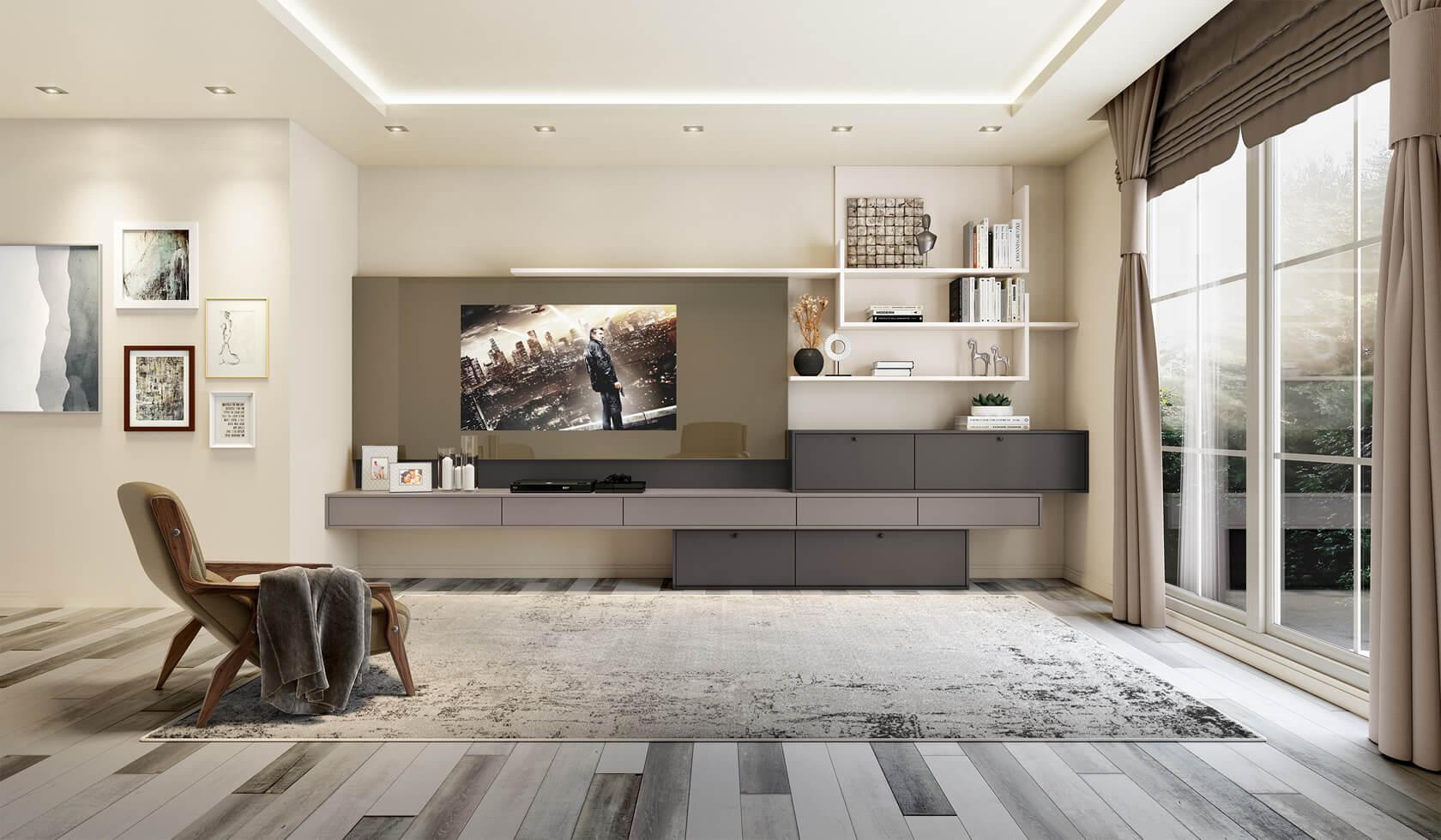 Sala de estar com painel de tv de madeira e nichos prateleiras personalizadas