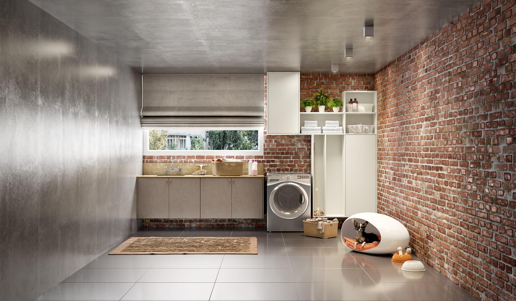 lavanderia e espaço pet rustico industrial