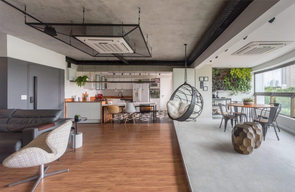 moveis planejados cozinha industrial com tubulações aparentes e metálicas