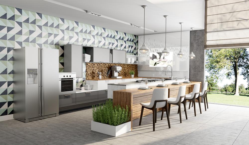 cozinha personalizada estilo escandinavo cinza e madeira