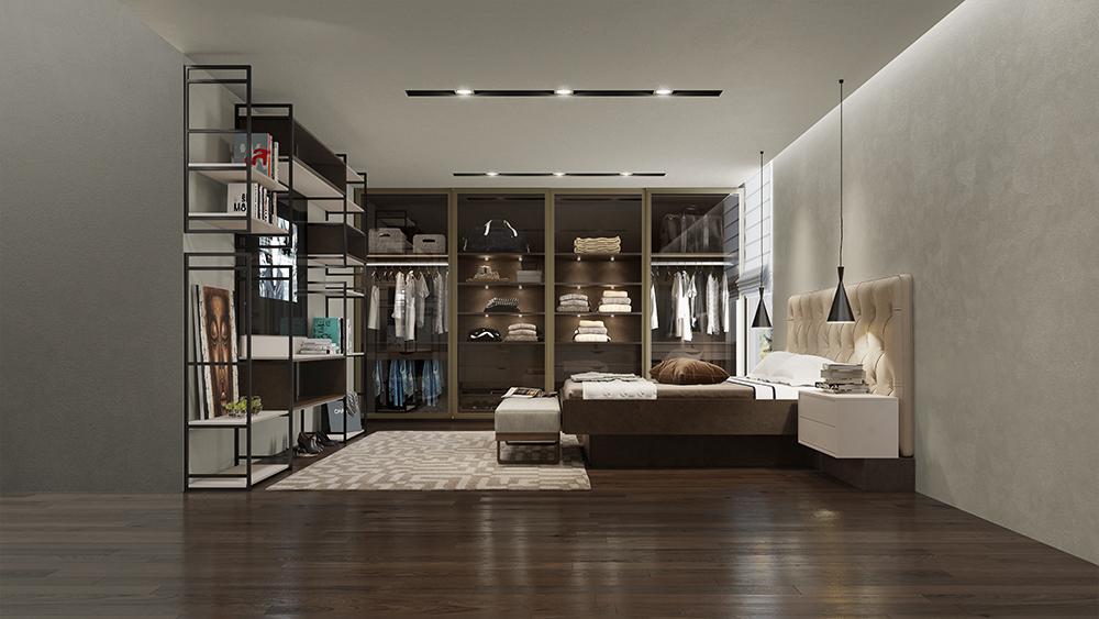 Quarto Casal de luxo com textura de couro no closet