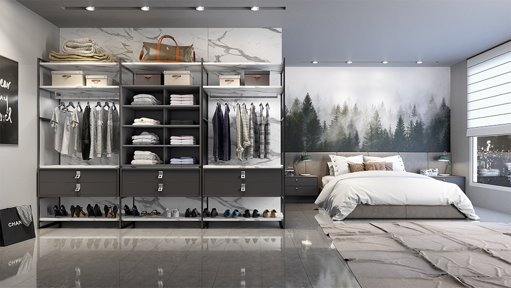 closet aberto - marmor e glut - estrutura metálica - closet estilo industrial