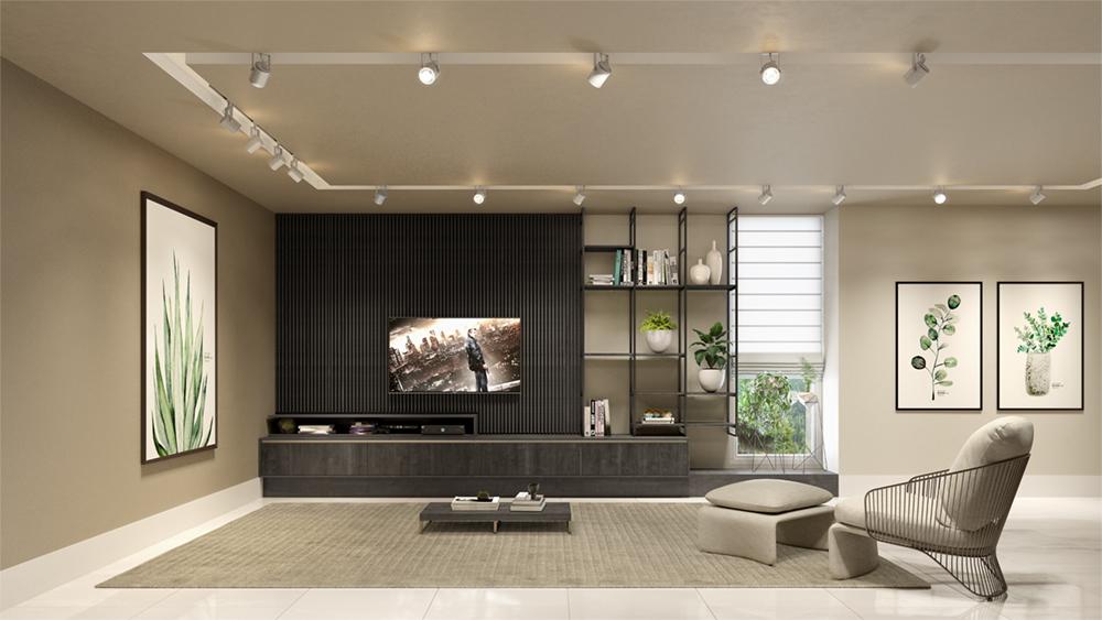 sala de estar com painel de madeira escura - ripado - estrutura metálica - moveis personalizados