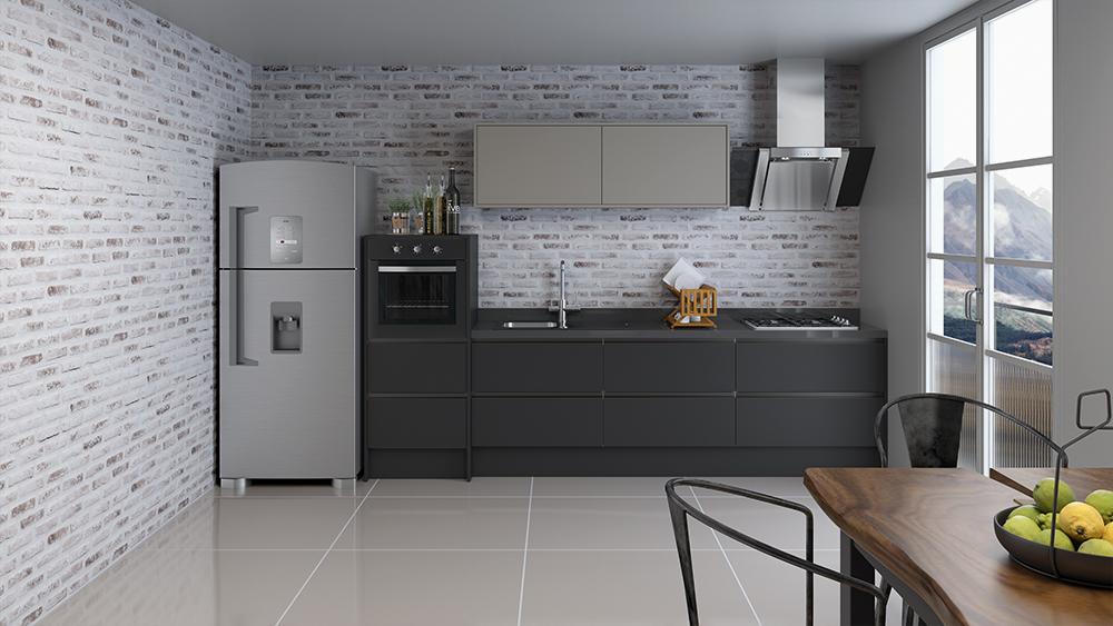 cozinha planejada modulada de corredor
