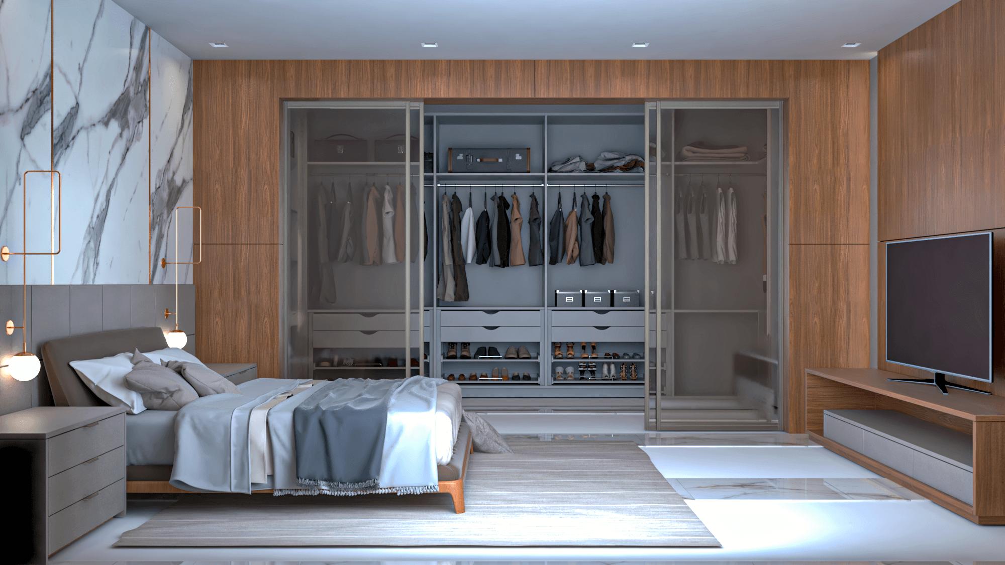 dormitório planejado com closet aberto