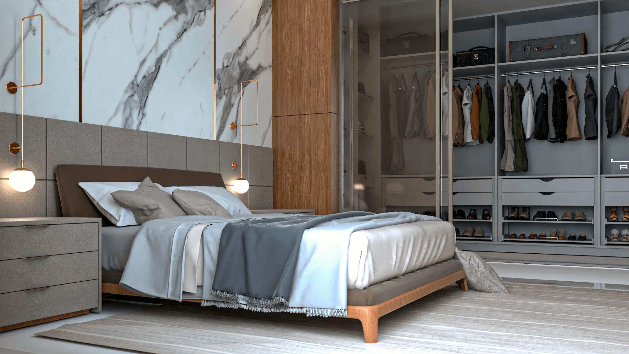 quarto com closet de luxo dormitório planejado