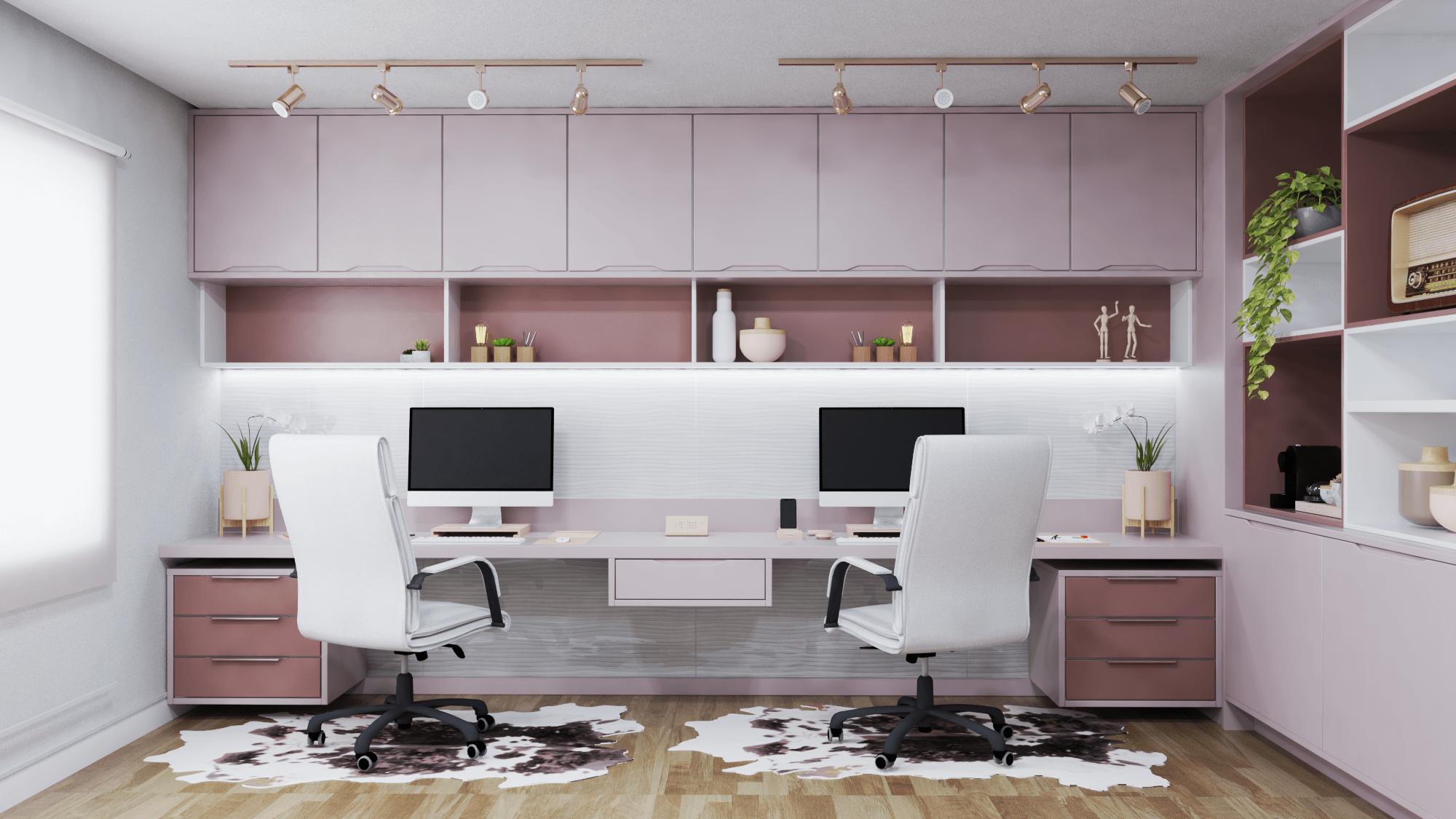 sala de estar planejada e home office integrado em tons de rosa