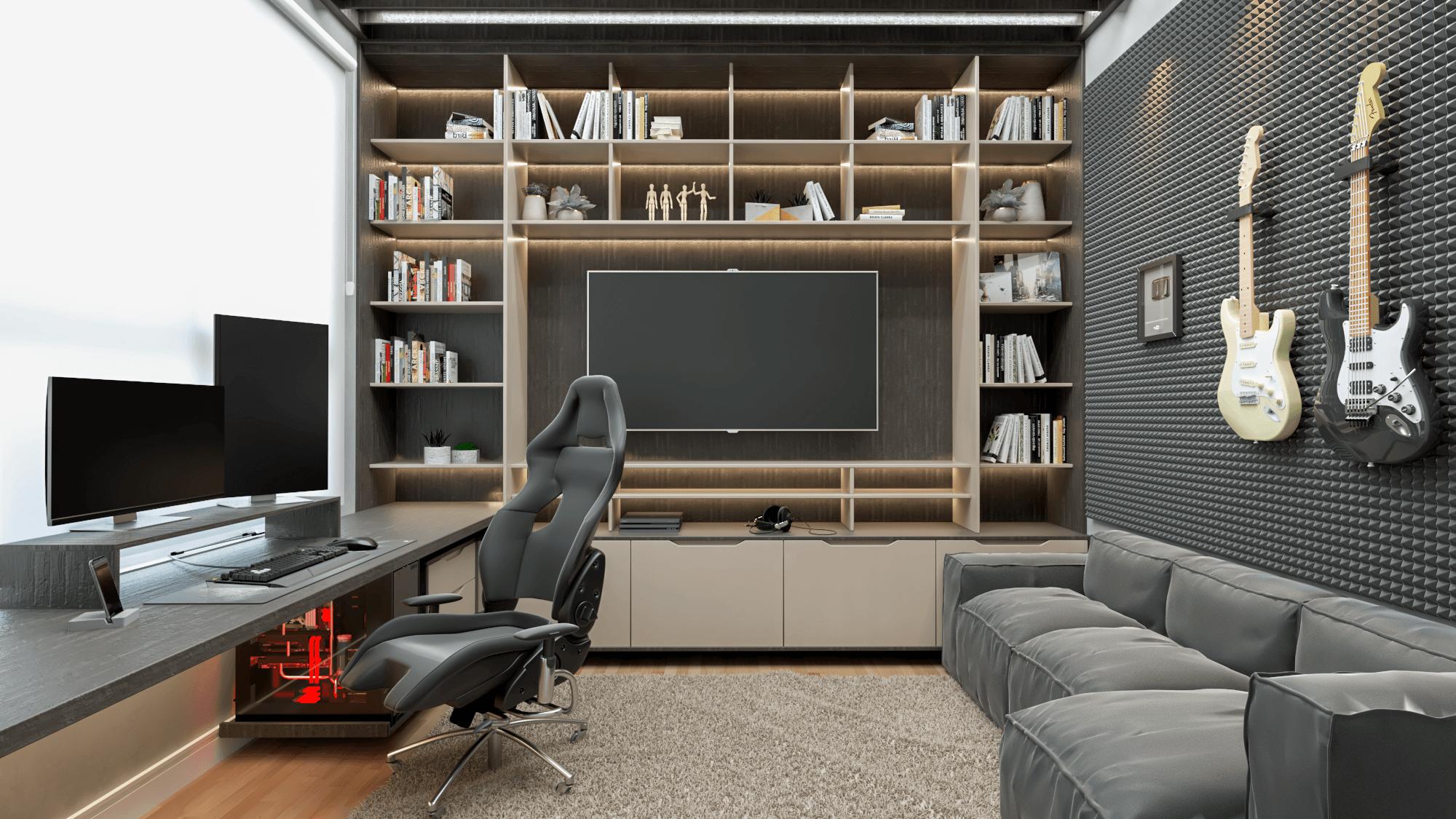 home office tom de bege e madeira escura - office do creator - móveis personalizados