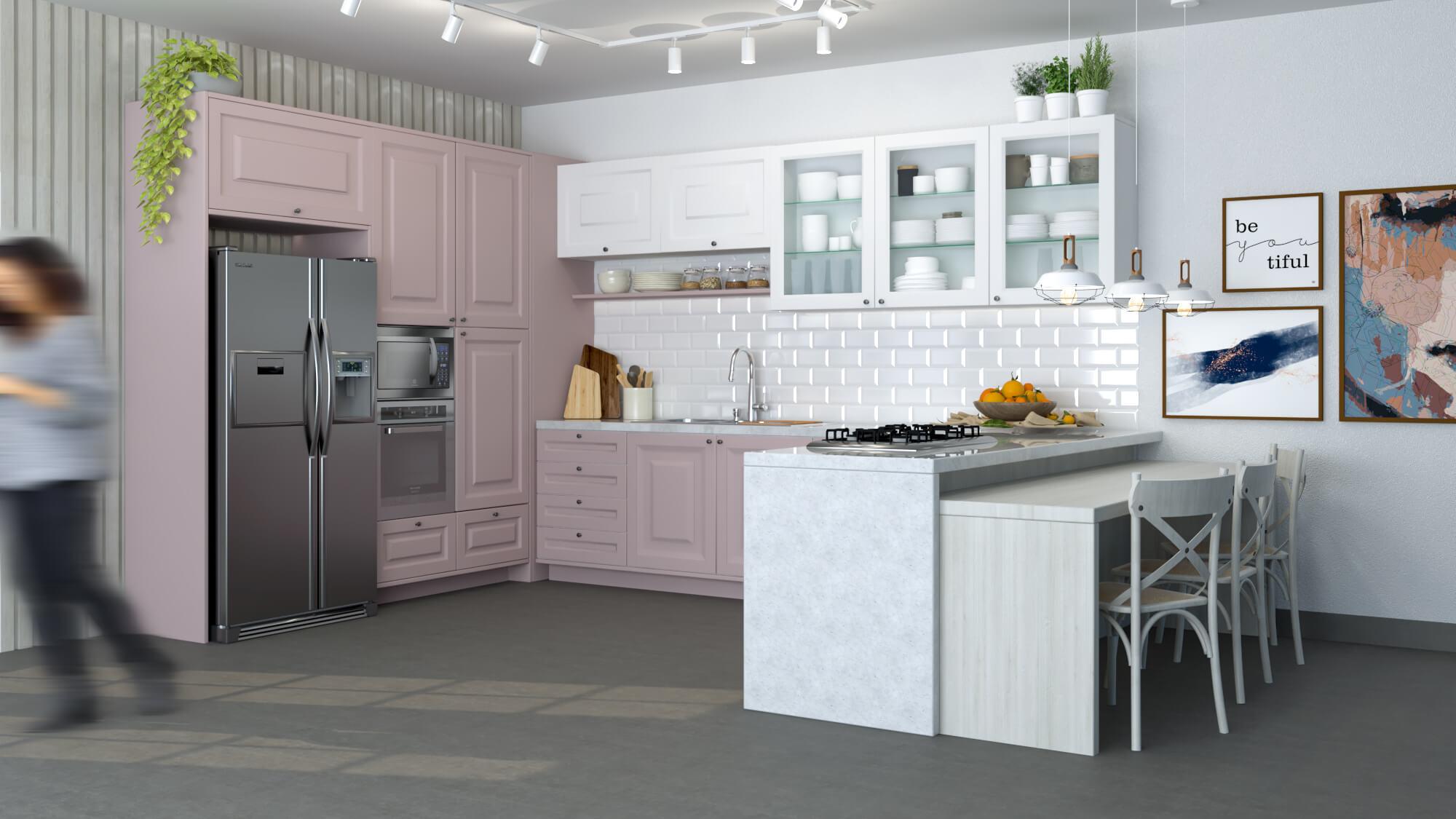 cozinha modulada e planejada em tom de rosa e branco - estilo provençal