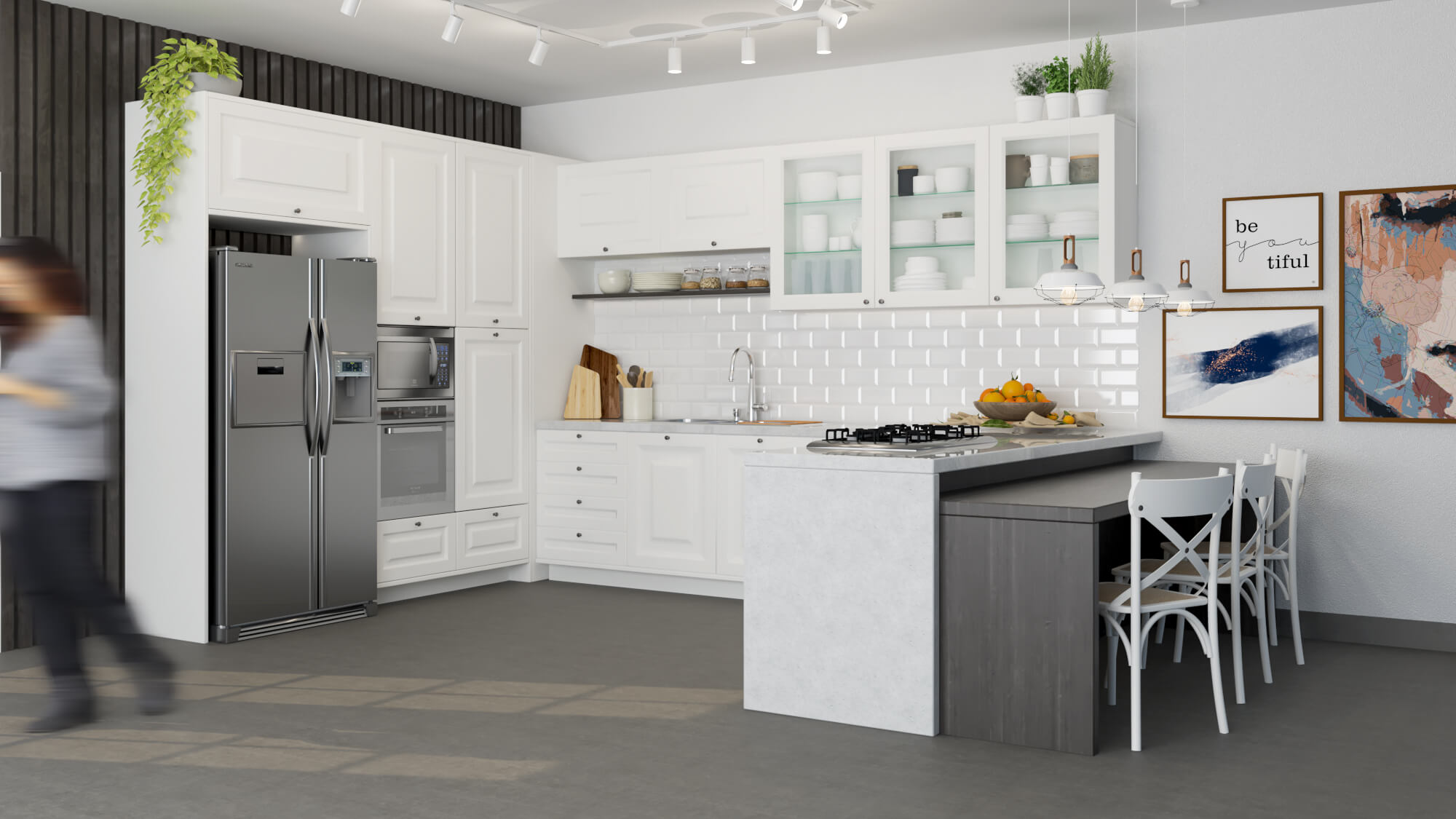 cozinha provençal - toda branca com detalhes em madeira escura