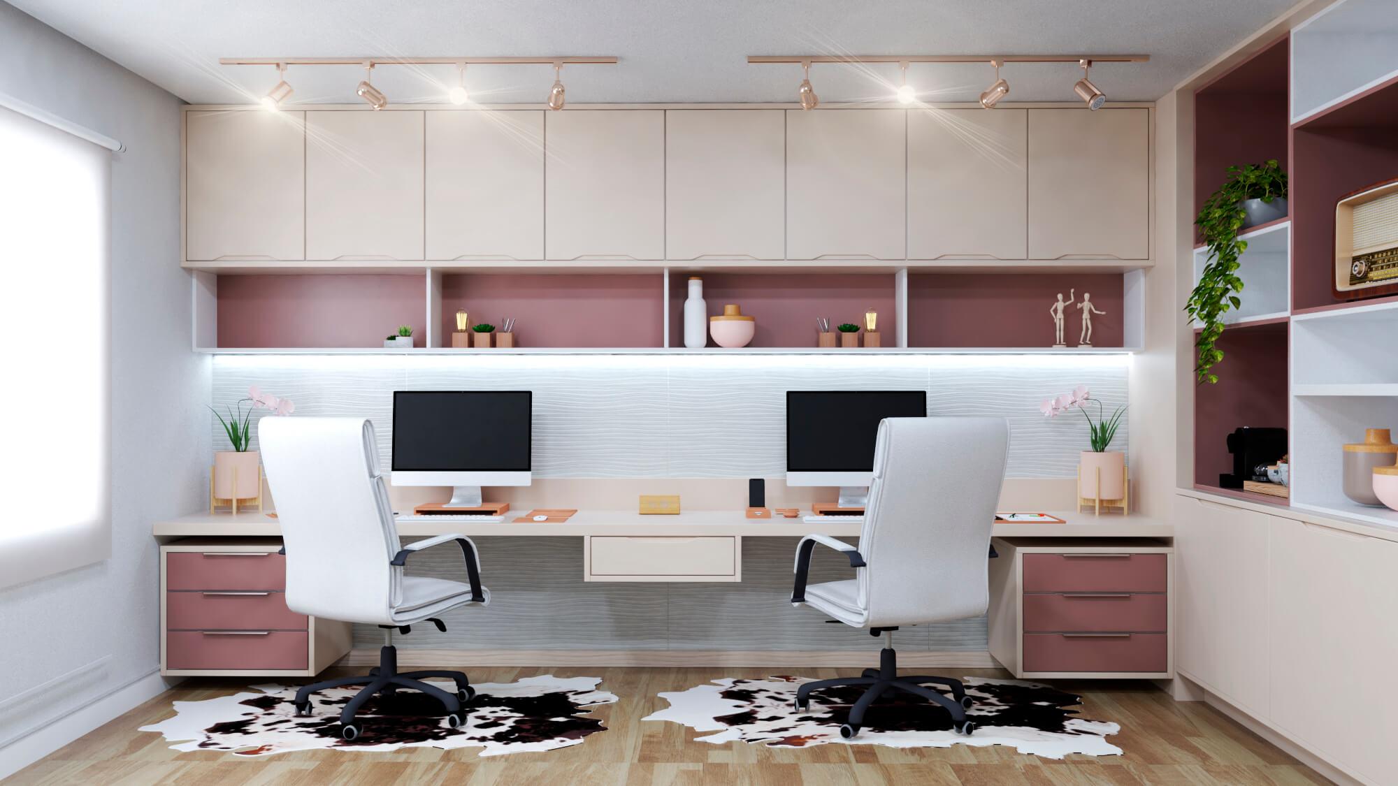 rosa como cor tendências de móveis planejados - home office