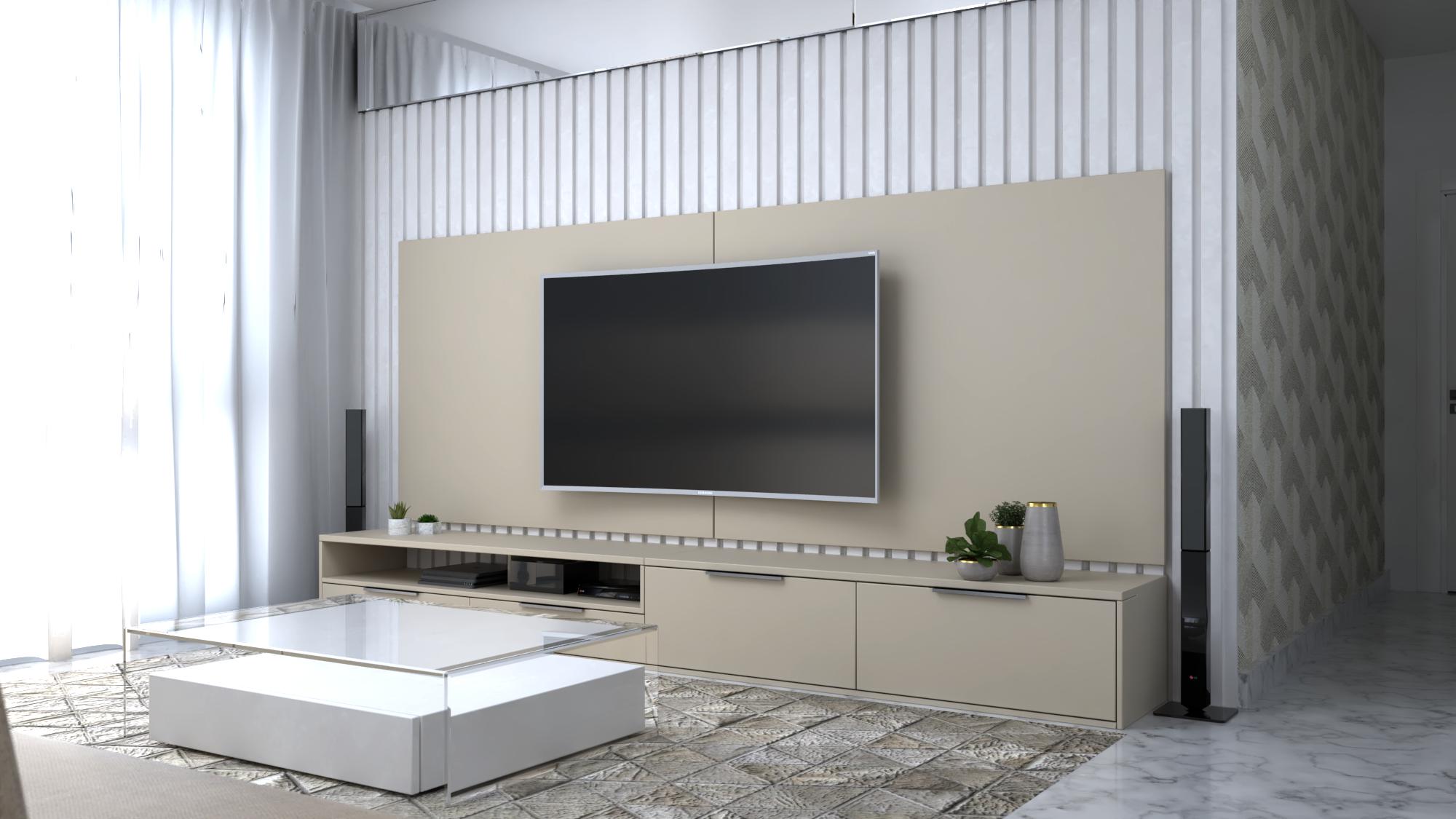 painel de madeira para painéis de TV na sala de estar