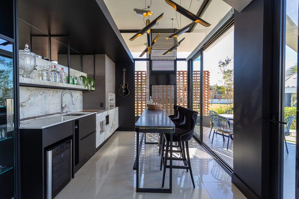 Cozinha Gourmet preta - area externa
