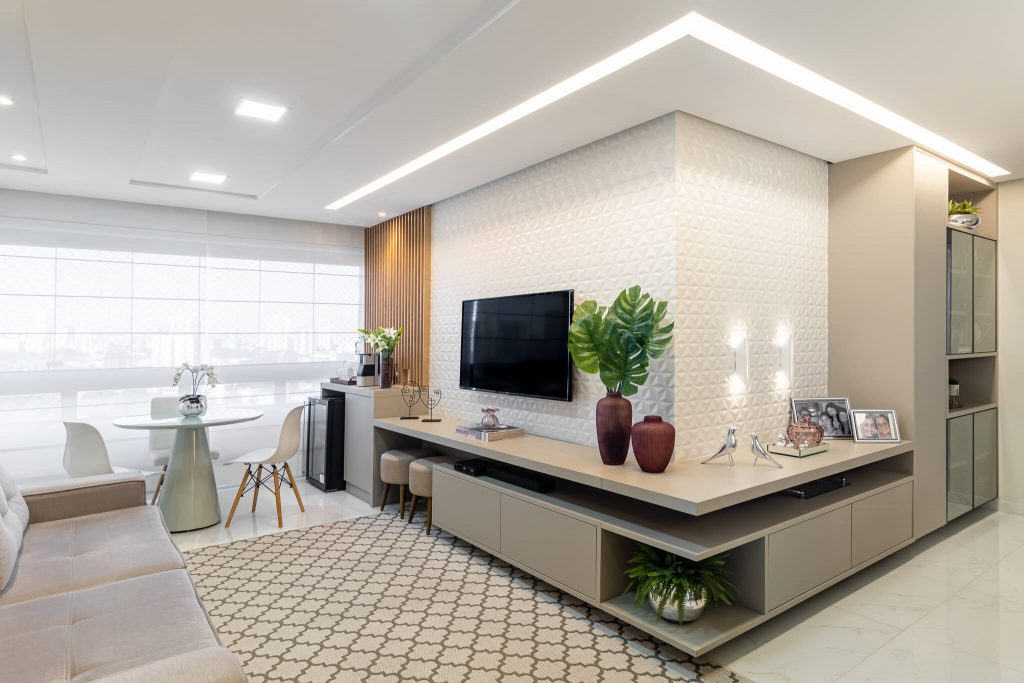 varanda integrada - escolher tapetes geométricos