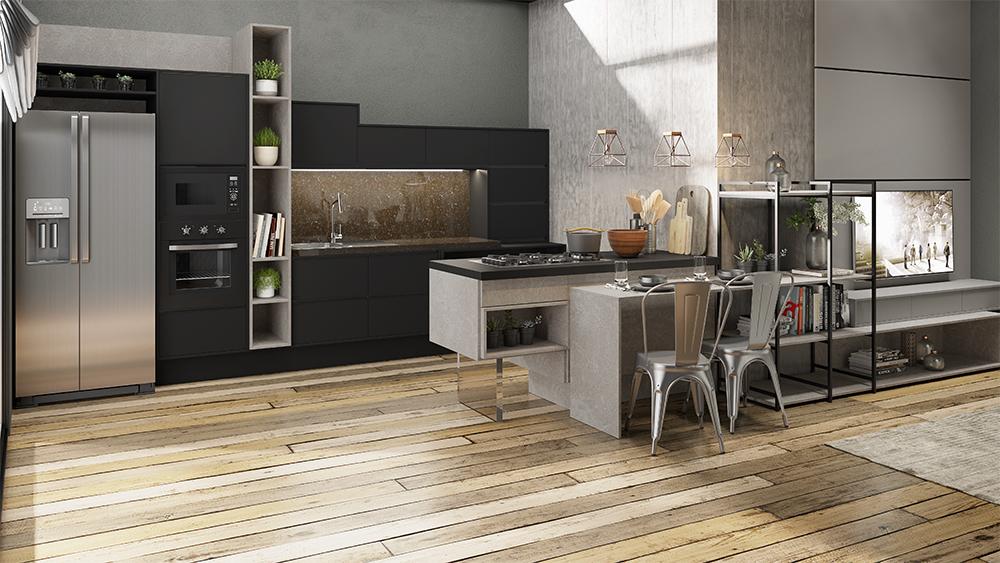 cozinha estilo industrial com cimento queimado parede