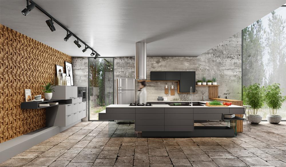 cozinha industrial com cimento rustico