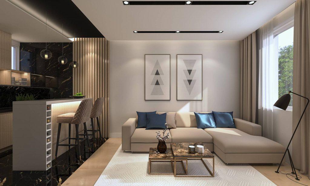 sala integrada - delimitar espaços - almofadas decorativas