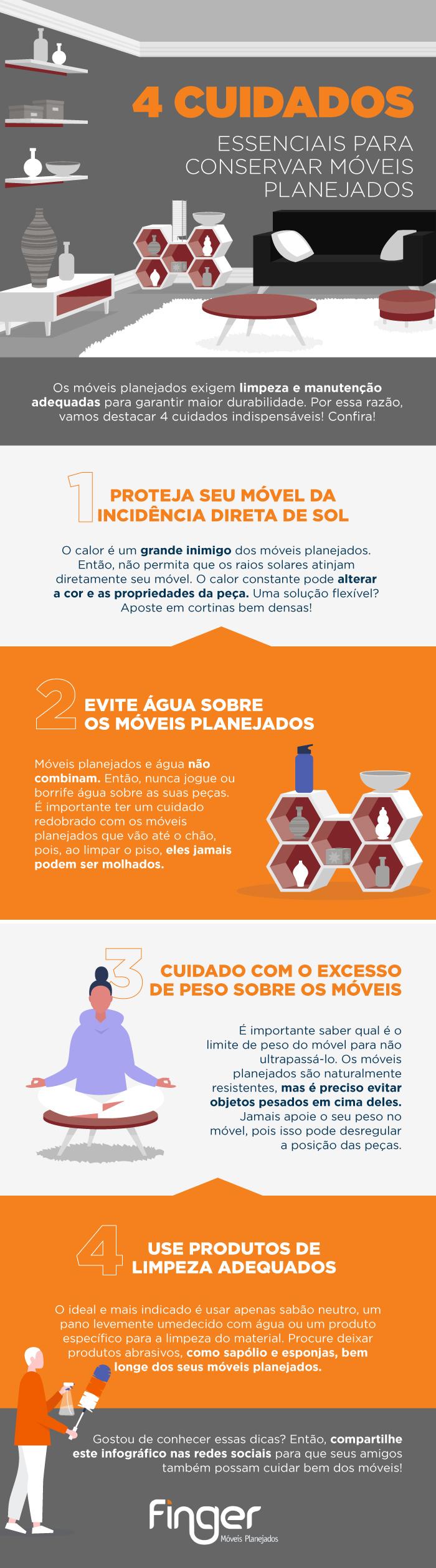 4 cuidados essenciais limpeza móveis planejados infografico