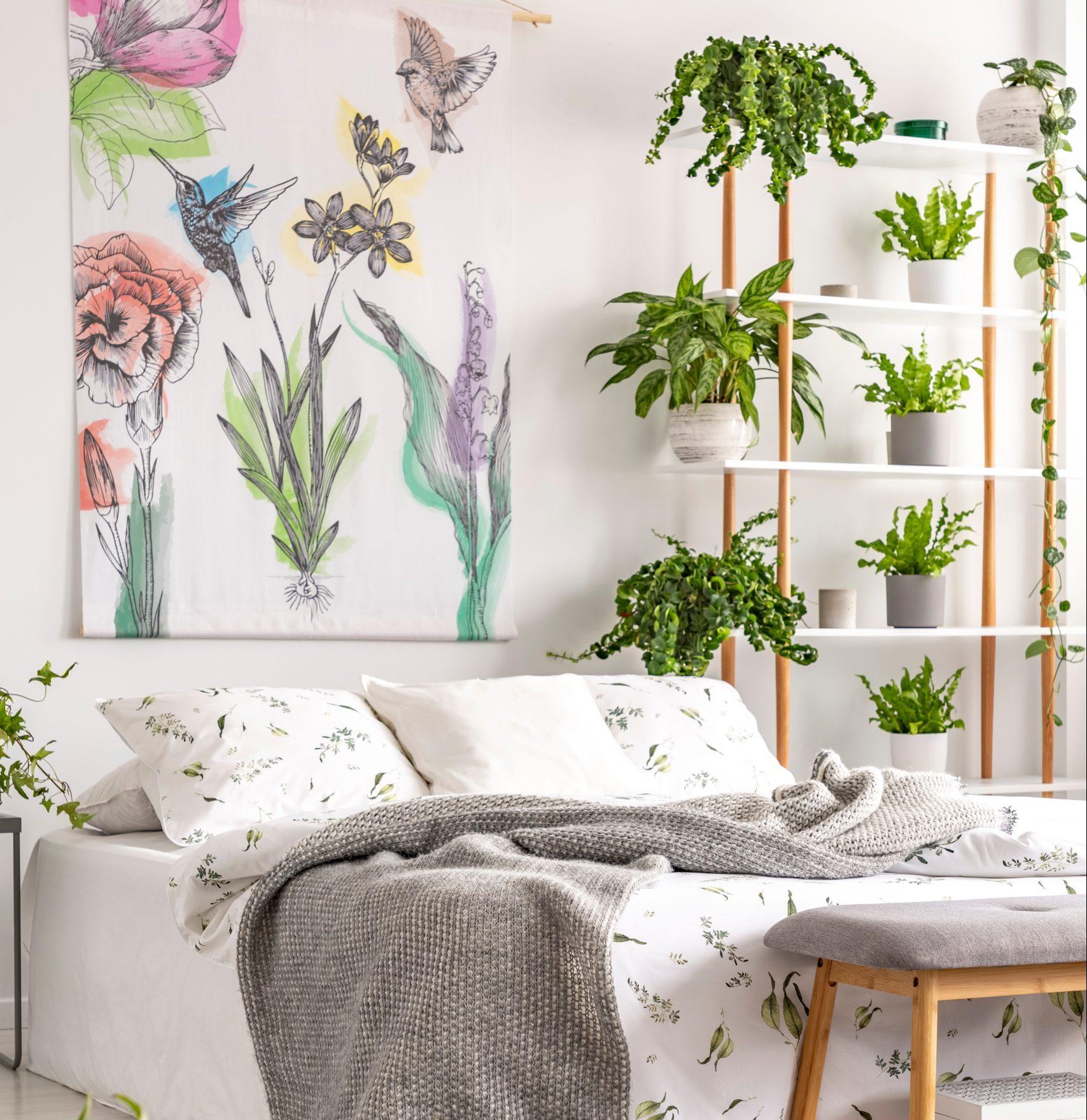 dormitorio, urban jungle plantas no lar