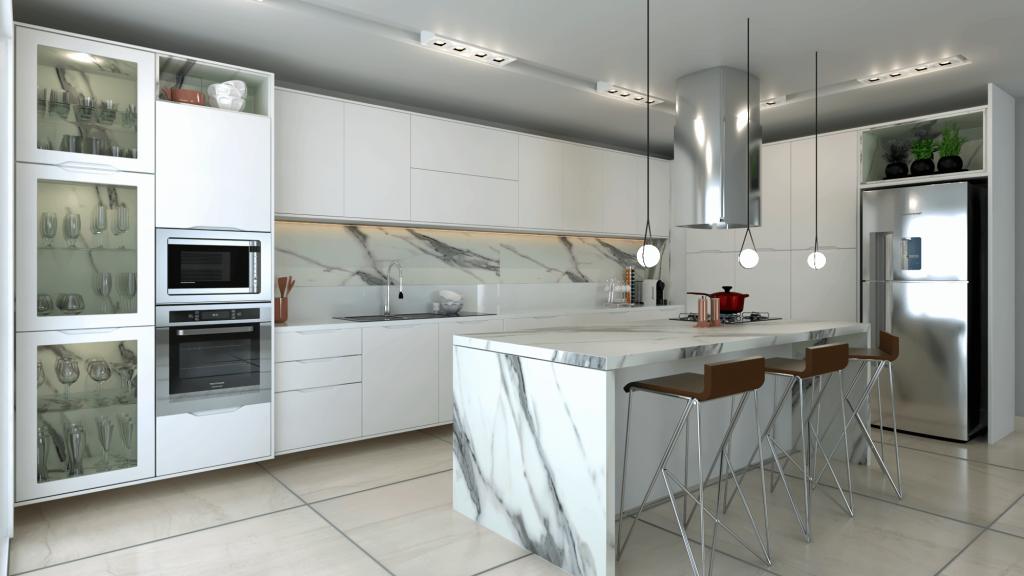 cozinha contemporanea branca e marmore de luxo