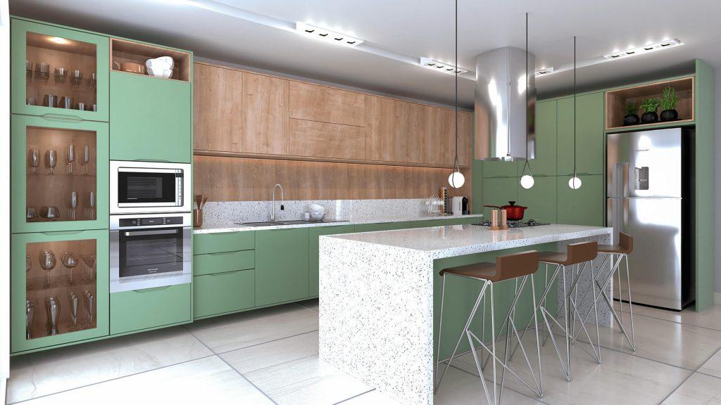 cozinha contemporanea verde e madeira