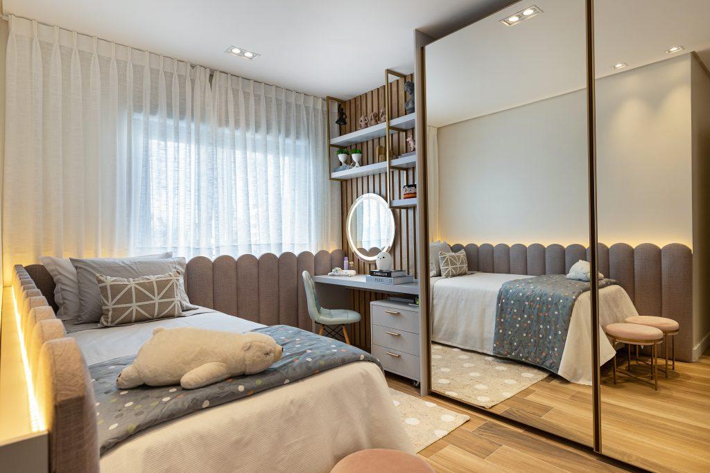 dormitório infantil com textura ripado