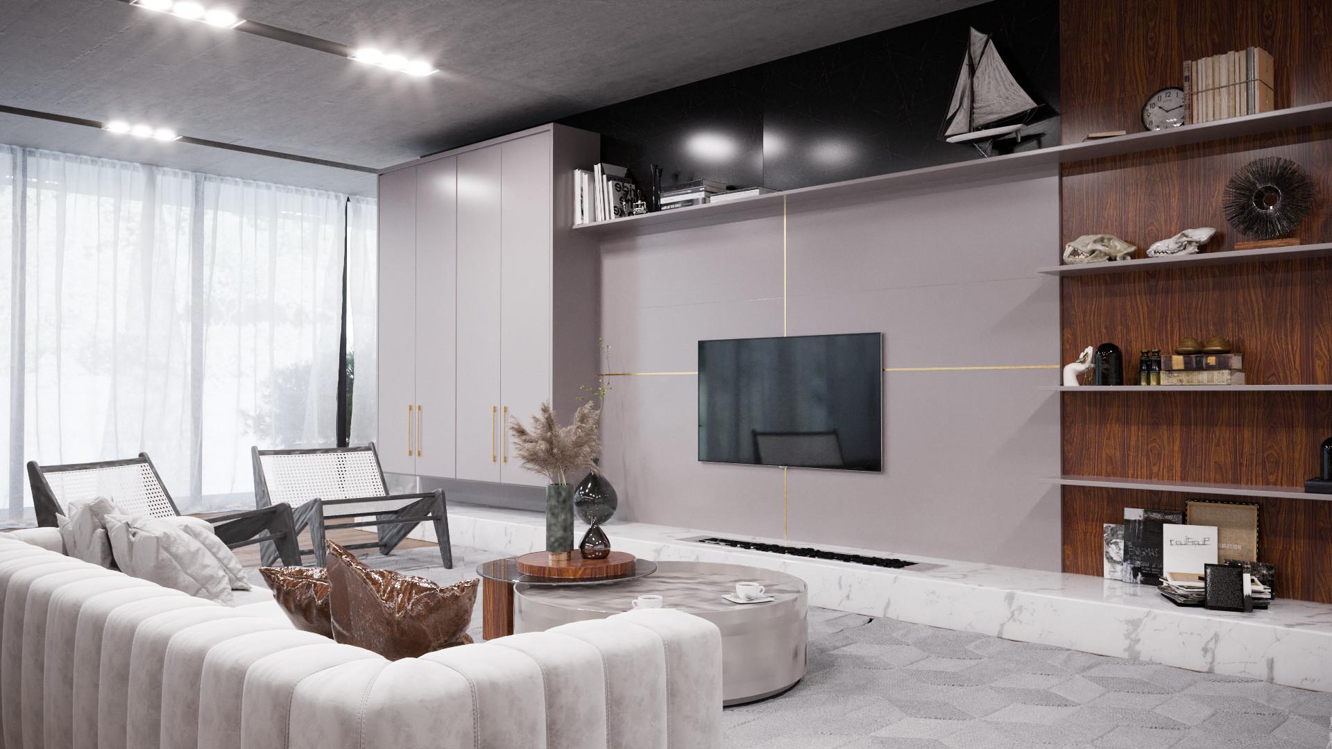 sala íntima minimalista living origens 2022