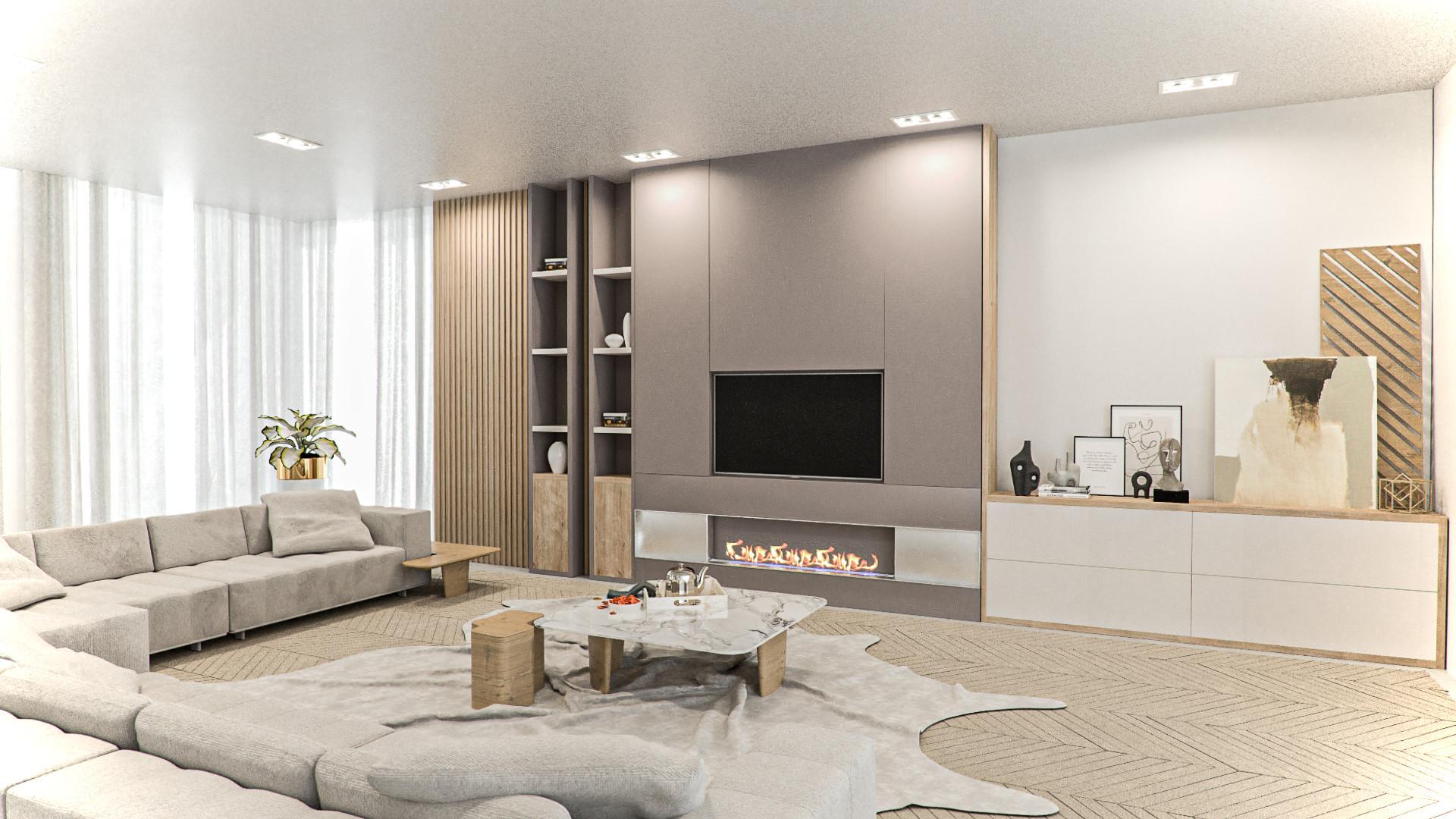 sala íntima cor neutra minimalista origens 2022
