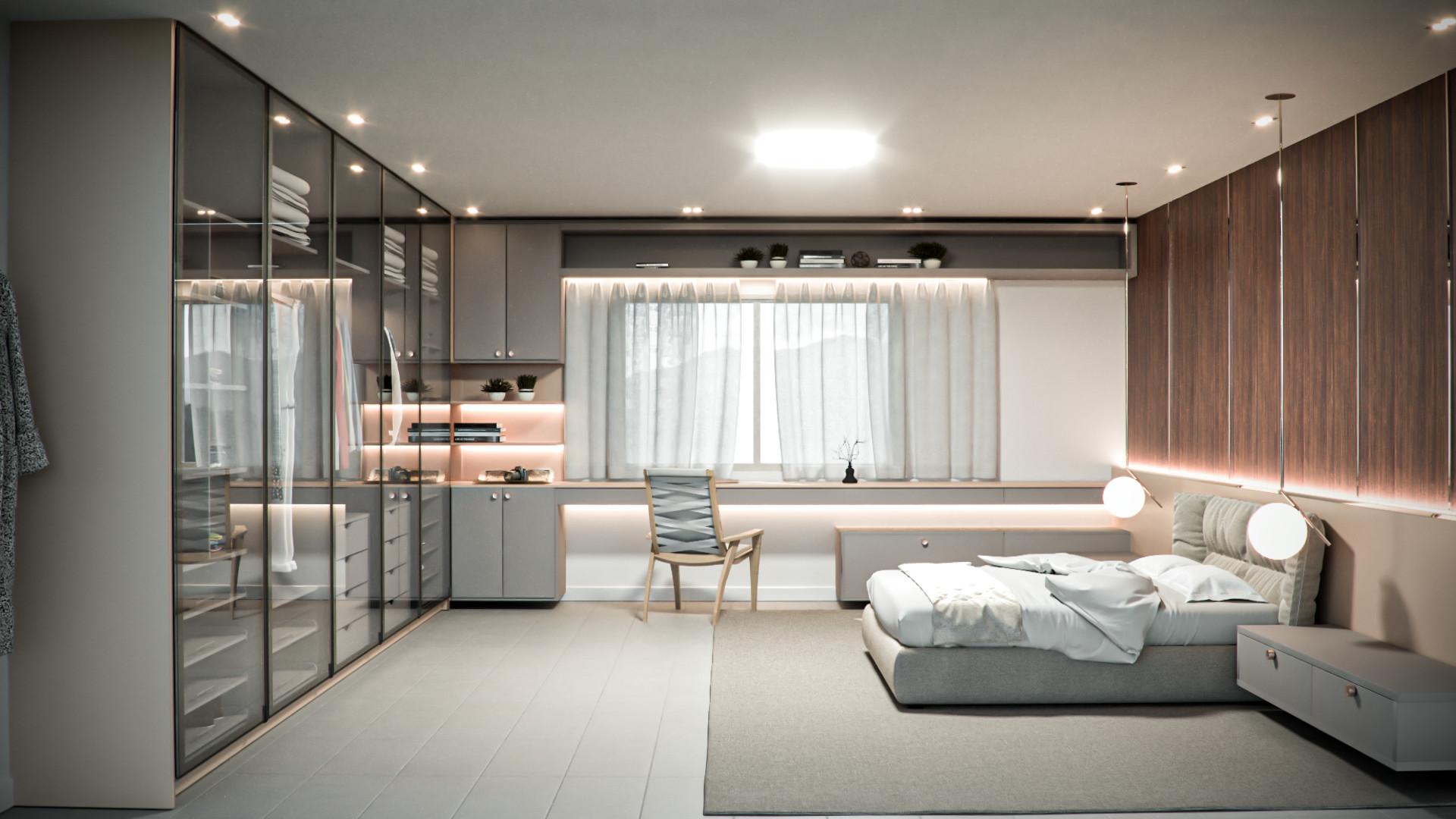 dormitorio casal minimalisma com closet origens 2022