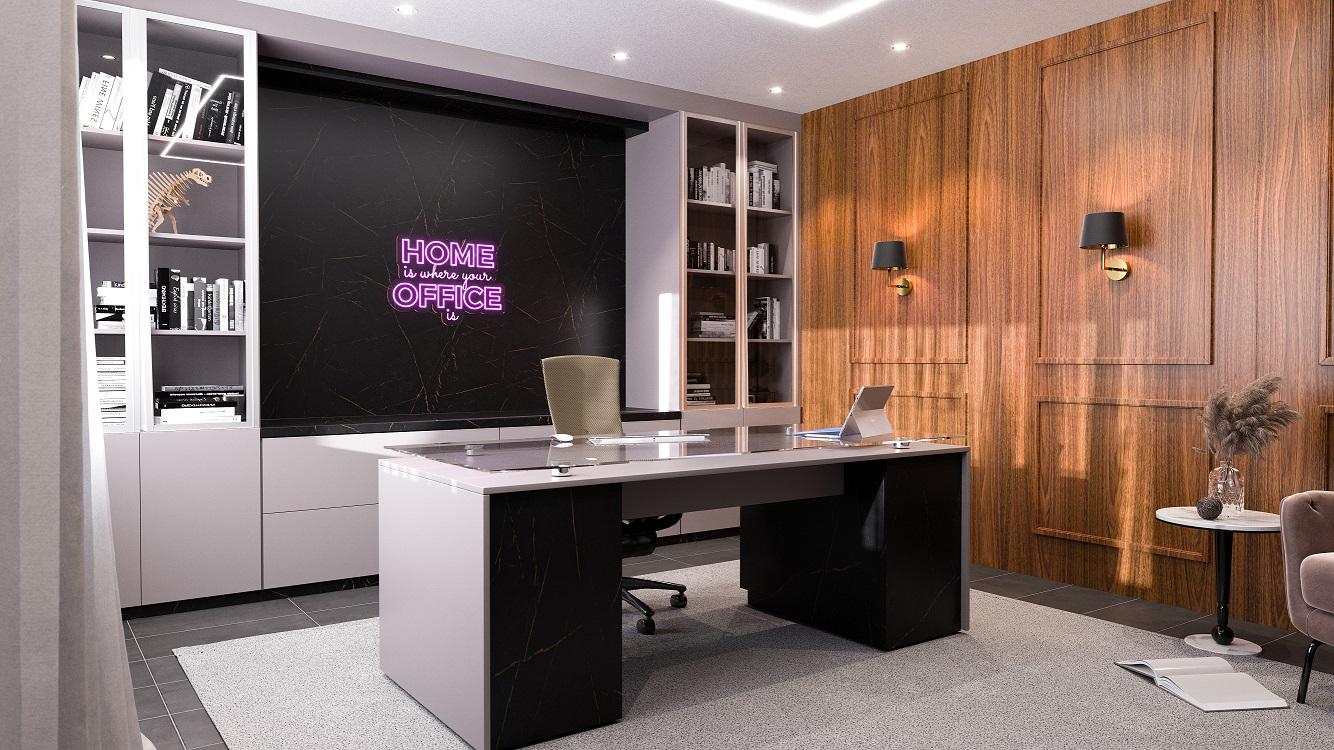 home office escuro com boiserie freijo