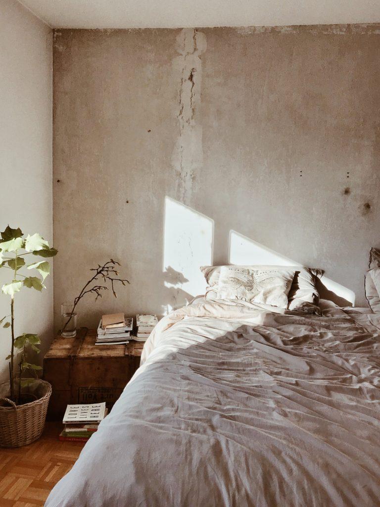decoração de quarto com plantas e madeira